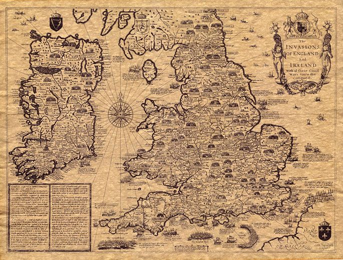 Invasions Of England 1610 John Speed Navigation