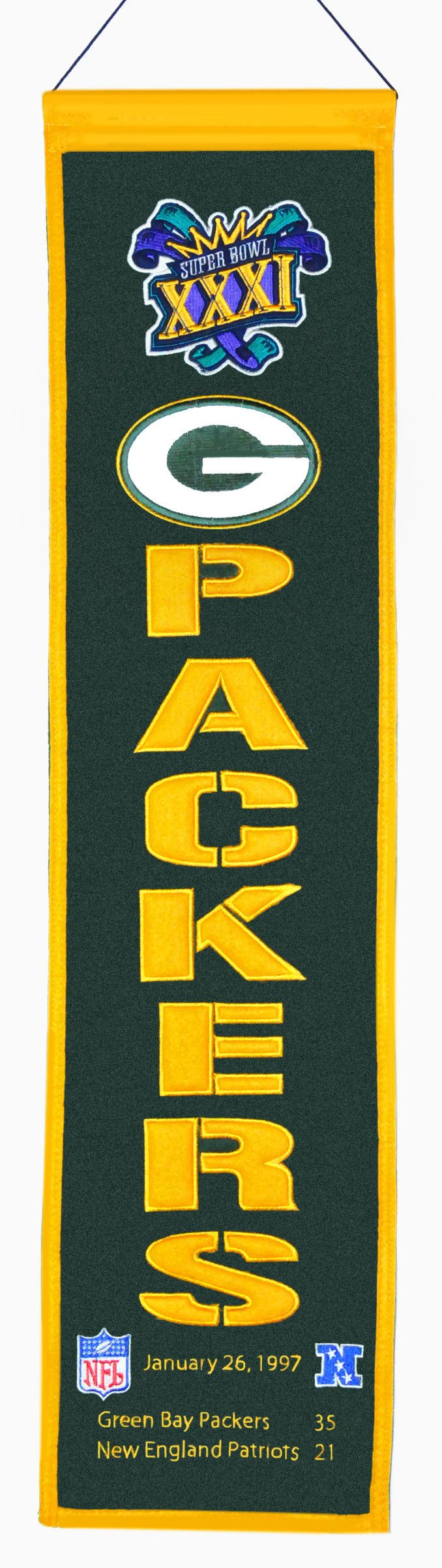 ~Green Bay Packers Super Bowl 31 Banner 8x32 Wool Heritage~backorder