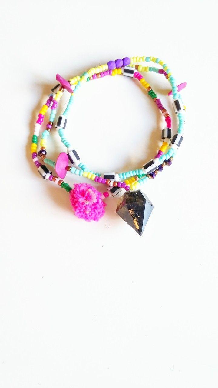 Βραχιολι ποδιού - πολύχρωμες χαντρες και διαμοσμητικο διαμαντάκι