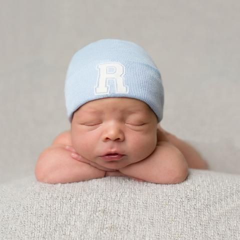 Collegiate Letter Initial Newborn Boy Hospital Hat #Melondipity
