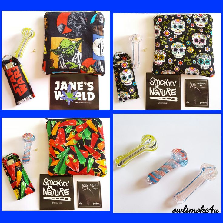 smoking pouches with glass pipe, screens, lighter with lighter holder key chain and a free gift by owlsmoke4u on Etsy