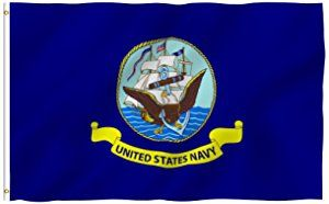 ANLEY [Fly Breeze] 3x5 Foot US Navy Flag - Vivid Color and UV Fade Resistant - Canvas Header and Double Stitched - USA Naval Military Polyester Flags with Brass Grommets 3 X 5 Ft