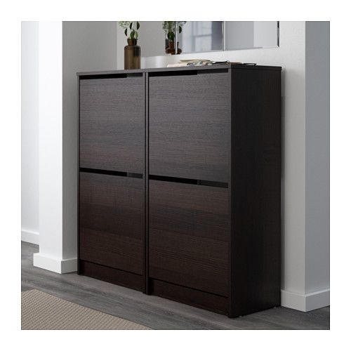 BISSA Shoe cabinet with 2 compartments - black/brown - IKEA