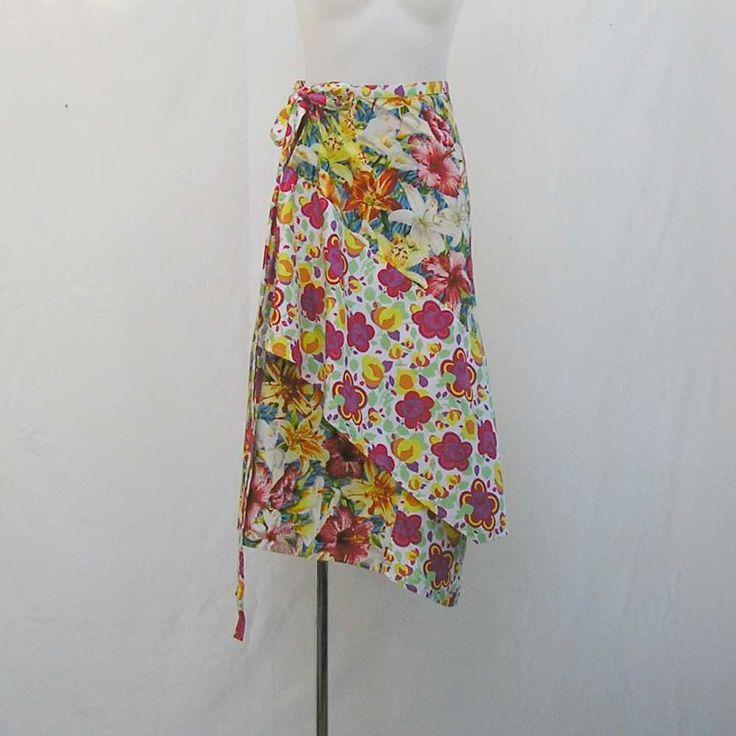 Floral skirt, Plus size Skirt, wrap skirt, asymmetrical skirt, yellow red white green skirt, 1x 2x 3x skirt, upcycled skirt, beach cover up 2