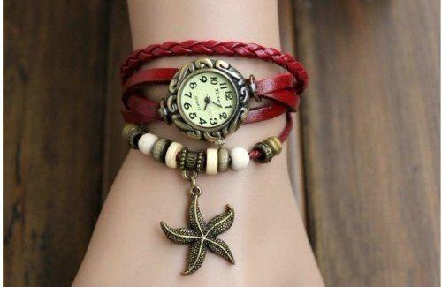 Fashion Weave Starfish Around Starfish Leather Bracelet Lady Woman Wrist Watch + Gift box (Red)