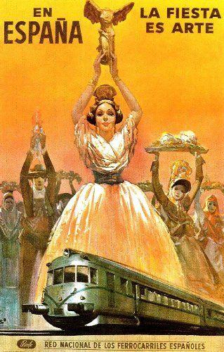 Fantastic A4 Glossy Print - 'La Fiesta Es Arte En Espana' - Taken From A Rare Vintage Travel Poster (Vintage Travel / Transport Posters) by Unknown http://www.amazon.co.uk/dp/B006LPKGUM/ref=cm_sw_r_pi_dp_fbnovb0DY17XG