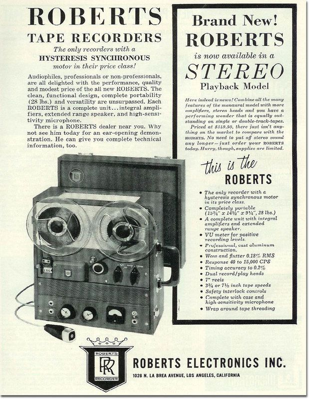 Roberts Tape Recorders, now available in Stereo Playback Model. - http://earth66.com/vintage/roberts-tape-recorders-available-stereo-playback-model/