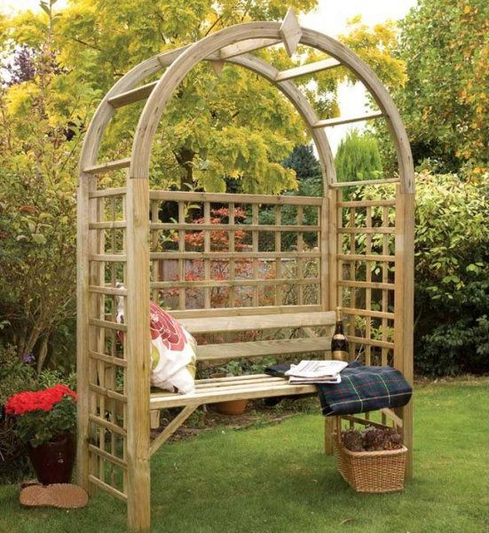 Shop For Grange Fencing Montebello Arbour   Garden Arbour With A Bow Top  And Trellis Sides, Pressure Treated Wood For A Longer Life.