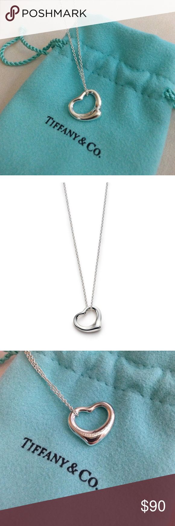 Tiffany & Co. Elsa Peretti Open Heart Necklace Sterling silver pendant. This is the small size. Excellent condition. Any scratches or imperfections are so small that I couldn't get them with my camera. Tiffany & Co. Jewelry Necklaces