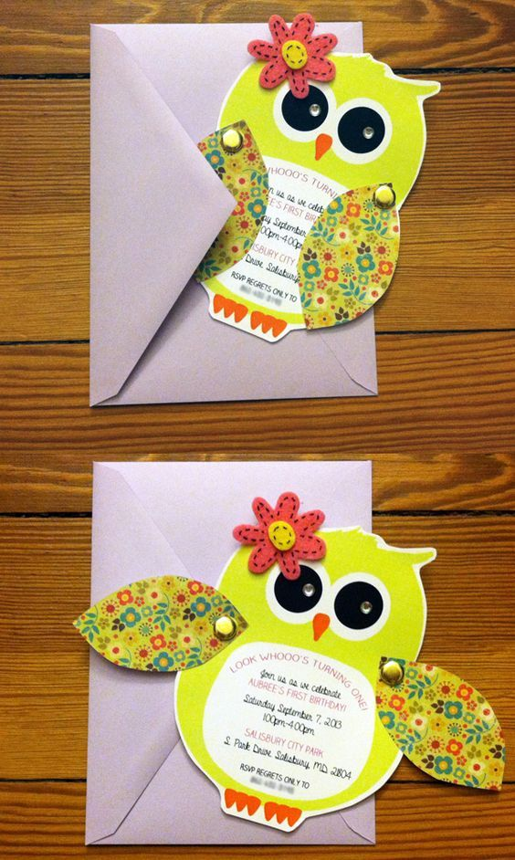 Owl First Birthday Invite. To order: https://www.etsy.com/listing/183781226/customized-owl-invitations: