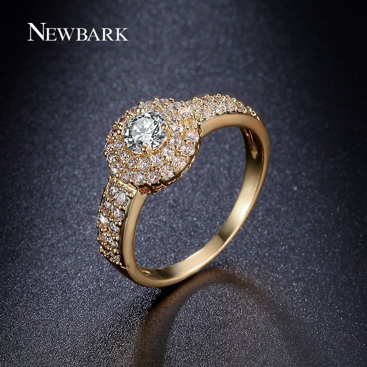 NEWBARK Luxury Gold Plated Ring Round Cut CZ Diamond With Micro Zirconia Cluster Engagement Rings For Women Jewelry
