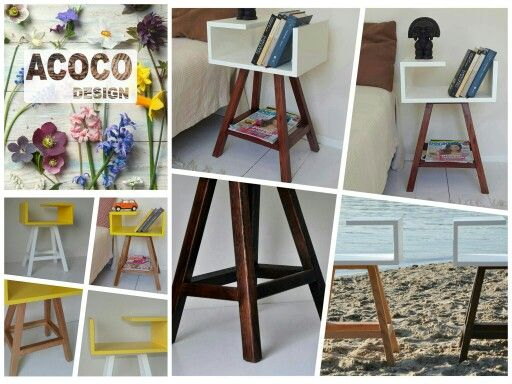 STOLIK AA #acoco #acocodesign #wood #meble #cafe #dawanda_pl #stolikAA #biały #żółty #pokójdziecięcy #sypialnia #meble