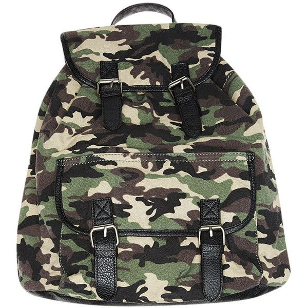 Camo Faux Leather Trimmed Backpack ($20) ❤ liked on Polyvore featuring bags, backpacks, camouflage, camouflage backpack, woven beach bag, flap backpack, strap bag and buckle flap backpack