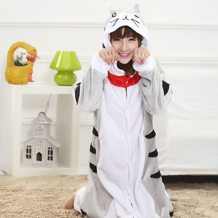Changshu love cat Winter Edition cartoon animal toilet thickened coral flannel Siamese couple female pajamas
