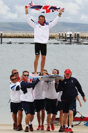 Great Britain's Nick Dempsey wins windsurfing silver medal.