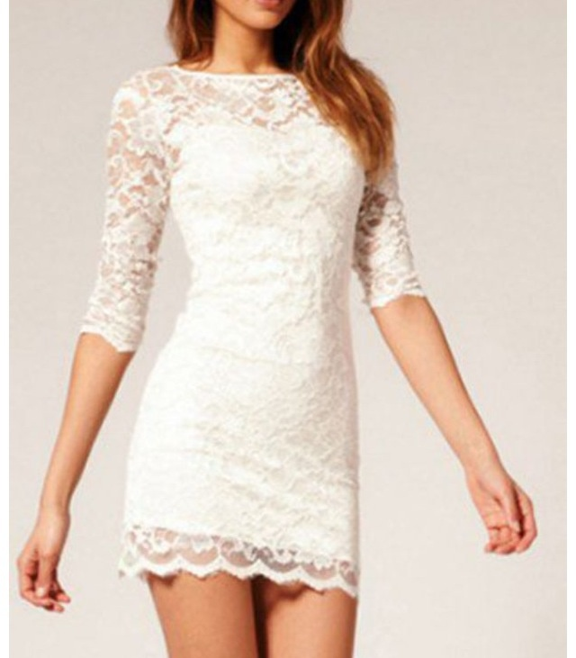 Sleeved lace white dress!