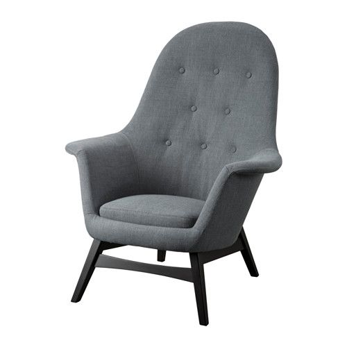 IKEA - BENARP, Armchair, Nordvalla dark grey, , The high back gives good support for your neck and head.