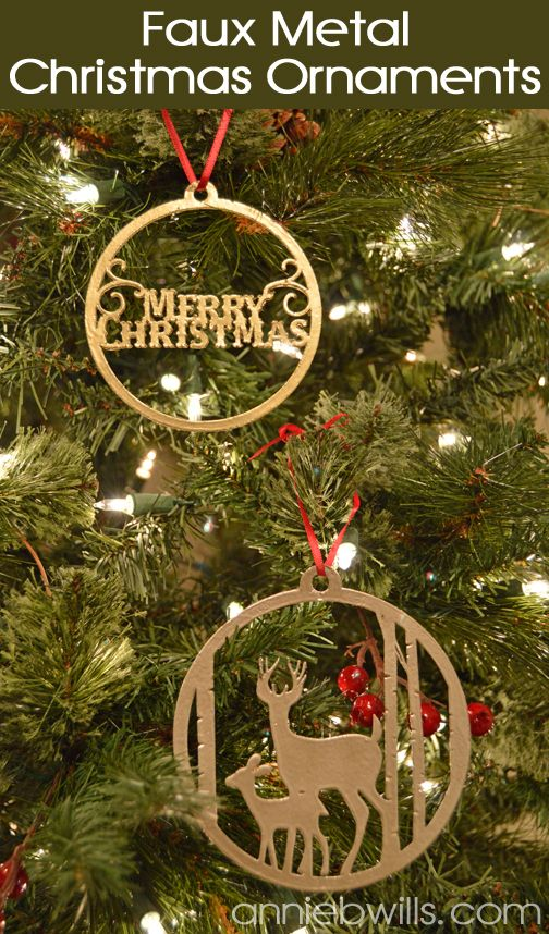 Faux Metal Christmas Ornaments by Annie Williams - made using Silhouette Chipboard and my CAMEO #silhouettedesignteam