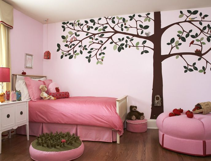 Best Tree Wall Murals Stickers For Girls Bedroom Decoration Design With  Pink Themes Ideas Best Wall Murals Decoration For Kids Bedroom Design Ideas