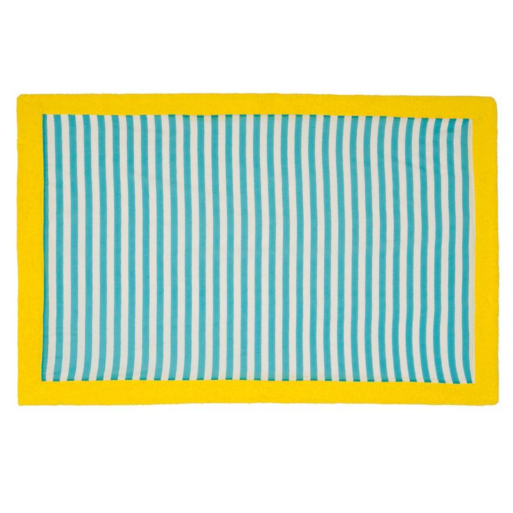 "Give a classic touch of nautique to your summer wardrobe with the striped ""Chaise Longue Turquoise"" beach towel!"