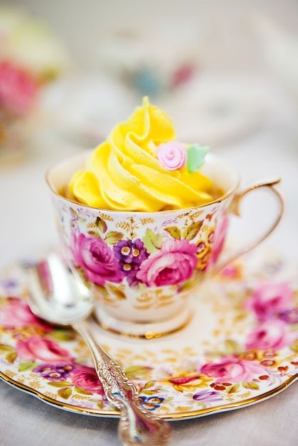 love it!...serve guests a cupcake in a beautiful teacup. such a sweet idea!