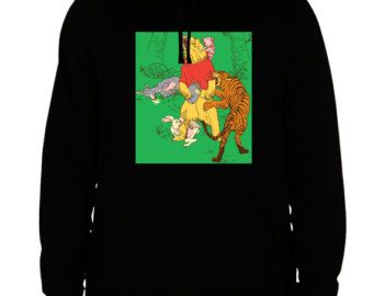 winnie pooh hoodie sweatshirt bear donkey tiger men's women's black cotton viscose christmas