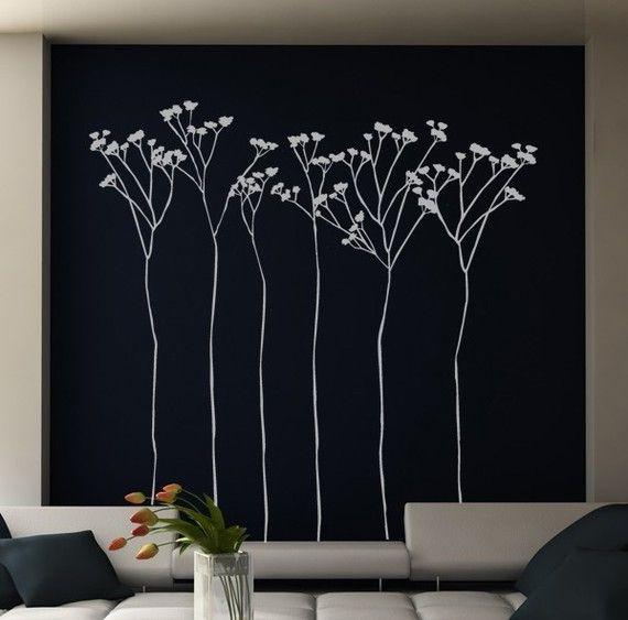 Vinil wall sticker tall flowers by creativeadb on Etsy, $61.00