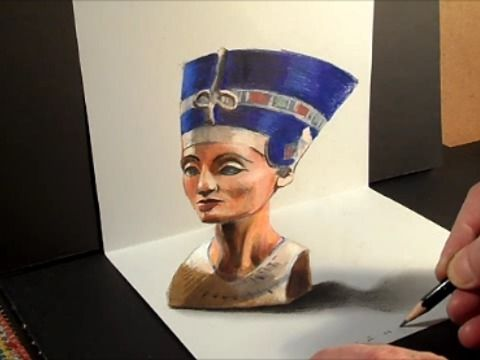 Drawing the 3D bust of Nefertiti.<br />Neferneferuaten Nefertiti (ca. 1370 BC -- ca. 1330 BC)<br />How to draw a  3D realistic Nefertiti head. <br />Mixed media.<br />Materials used: <br />Pastell paper: light gray.  <br />H graphit pencil (Derwent) <br />Grey markers: Letraset PROMARKER cool grey <br />Prismacolor colored pencils.<br />Black charcoal pencil.<br />Soft eraser.<br />Music: Mirek Krawczyk - Adrar In Salam<br />Készítette: Vámos Sándor<br />By Vamos Sandor, copyright, 2014.