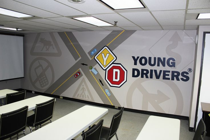 Young Drivers of Canada's lecture room was very dated so they called upon Mural Magic to bring it into the new millennium! This design was hand painted by Mural Magic in Ottawa.