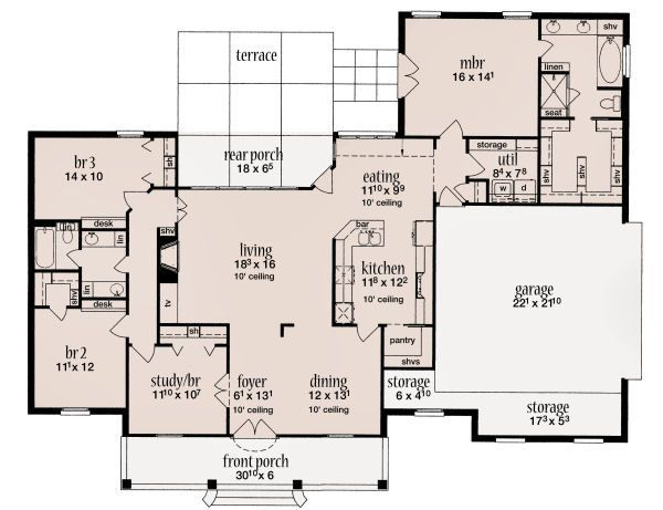 2000 Square Foot House Plans | 2000 square feet, 4 bedrooms, 2 batrooms, 2 parking space, on 1 levels ...