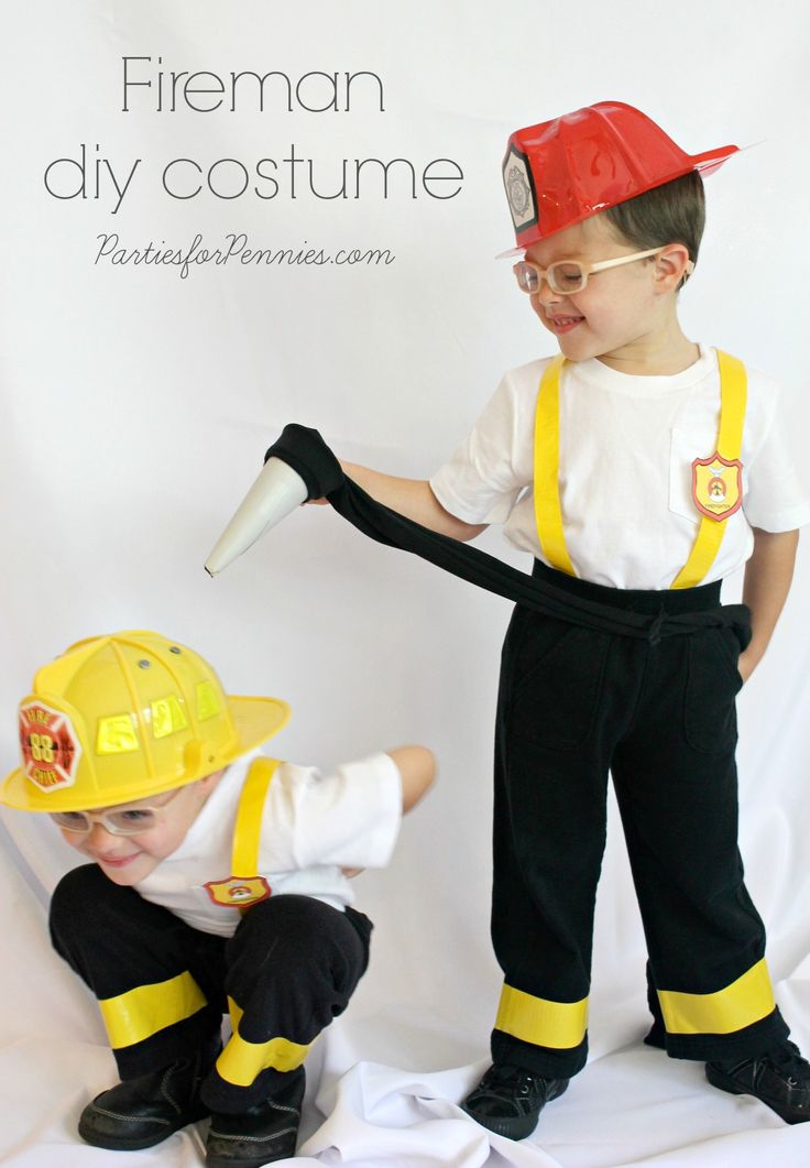 DIY Costume - Firemen by PartiesforPennies.com | You will never believe what the hose is made from! |  #firemen #diycostume #homemadecostume #cheapcostume