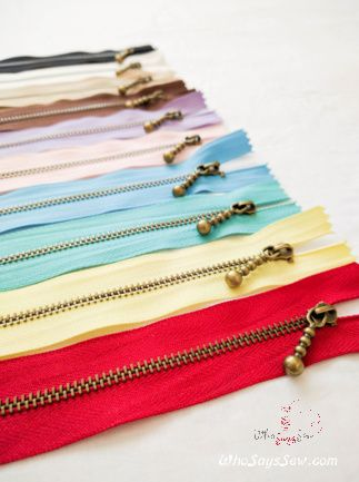 Antique Brass Metal Closed-ended Zipper in 10 Colours in 15cm. Suitable for Bags - Who Says Sew