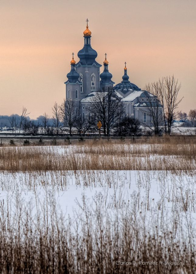 The Slovak Cathedral of the Transfiguration in Markham, Ontario. A splendid Architecture that can be seen from several kilometers away.