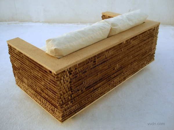 Corrugated Cardboard And MDF, With Cushions Filled With Crumpled Paper.