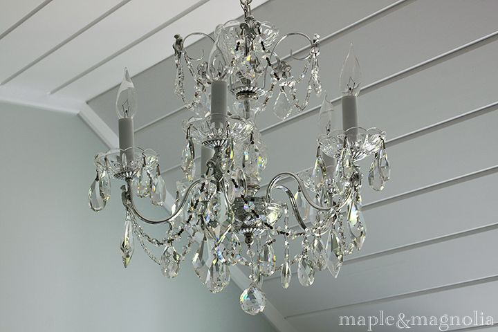 Master bath renovation maple and magnolia nice chandelier found at - Bathroom crystal chandelier ...
