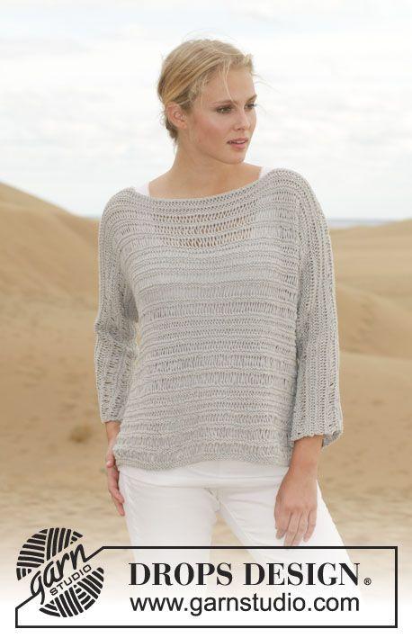"""Stickad DROPS tröja i """"Cotton Light"""" med rätstickning och tappade maskor. Stl S - XXXL. ~ DROPS Design"""