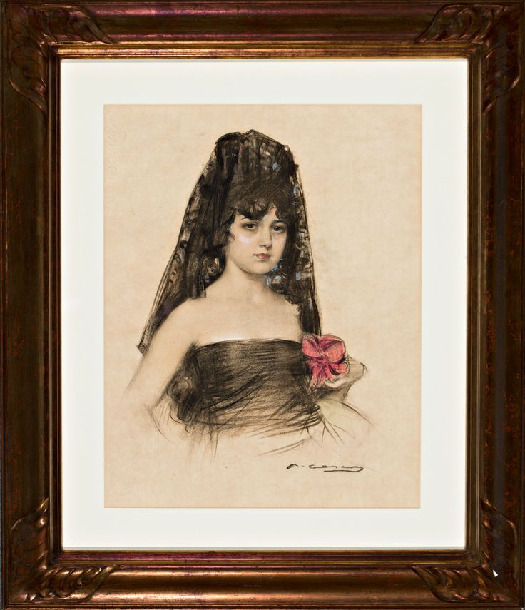 "Ramon Casas Carbó    ""Júlia amb mantellina i flor""  Charcoal, pastel and gouache drawing on paper  Signed. Made circa 1915. Literature: Isabel Coll Mirabent, ""Júlia, el desig"", Barcelona, Cercle del Liceu, 2016 (reproduced)  57x44,5 cm"