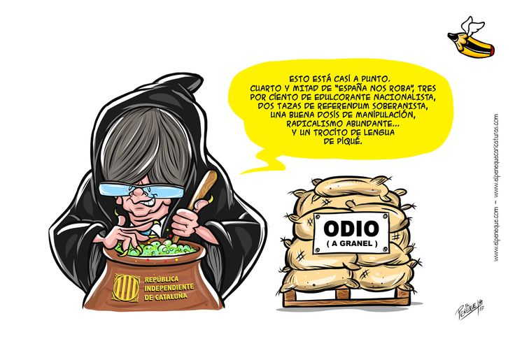 bruja Puigdemont pócima independencia Cataluña humor gráfico elpeneque