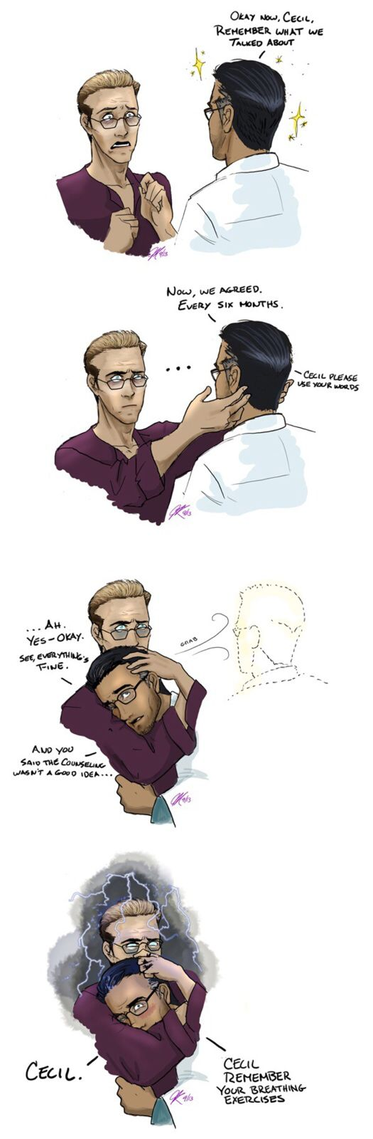 """Headcanon: Carlos and Cecil reach an angst-ridden agreement that he is allowed to cut his hair twice a year, based on the average human hair growth rate of 0.44 millimeters a day. This achieves """"maximum lushness"""" without sacrificing hygiene or requiring a hairnet in the lab. The first few times are always the hardest."""