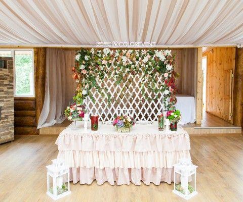 woodland wedding backdrop, оформление президиума\задника в лесном стиле