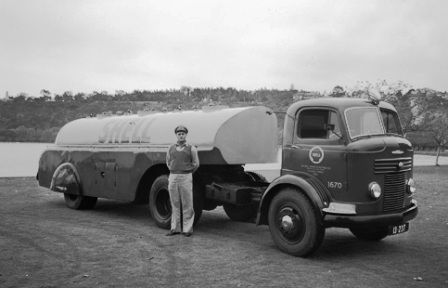 old work trucks | Safety and work wear! When all tanker drivers had peaked caps..only on ...