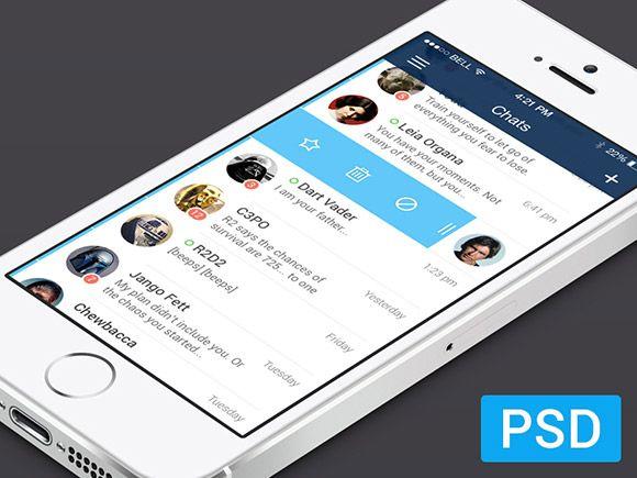 iOS7 messenger app PSD #FreePsd from http://ortheme.com