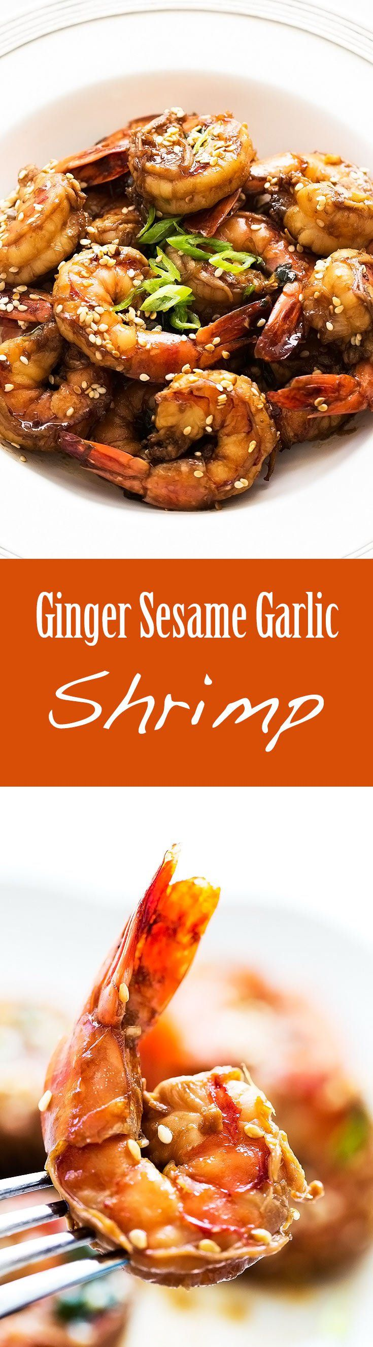 Quick and easy! Shrimp marinated in a ginger sesame garlic soy sauce marinade, then quickly stir-fried. Easy prep, 10 minute cook time! On SimplyRecipes.com