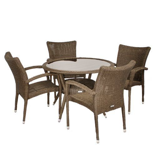 Bari 5 Piece Wicker Round Patio Dining Set Round Table With Glass X 4  Stacking Armchairs X X Seating