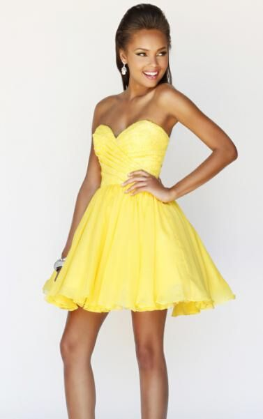 2014 Short Yellow Sexy Cocktail Dress