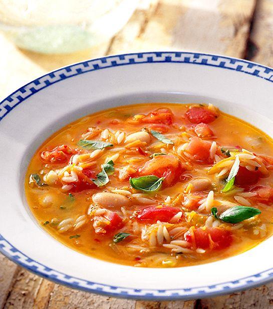 Risoni är pasta formad som ris. Den ska kokas 11 min men uppåt 15 går också bra, vilket gör att den passar bra i soppa. Risonin klibbar inte och den ger fint tuggmotstånd. 1/2 dl kokta vita bönor motsvaras av 40 g okokta.