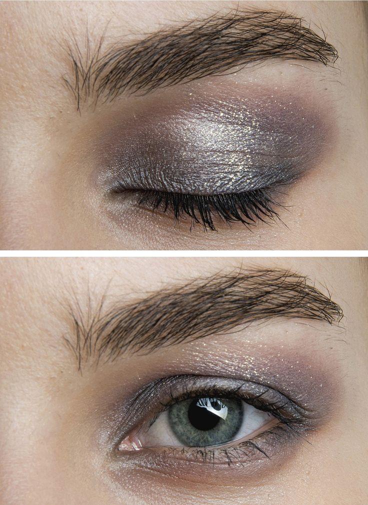 Subtle silver, taupe eyeshadow