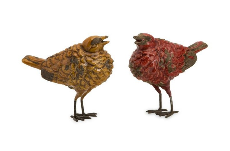 """Tuscan Birds - Set of 2 - With Italian influence and rustic charm, the set of two Tuscan birds feature warm red and butternut glazes on uniquely shaped bird sculptures. Great for kitchen décor! Material: 100% Ceramic. 4.75""""h x 2.5""""w x 5.75""""."""