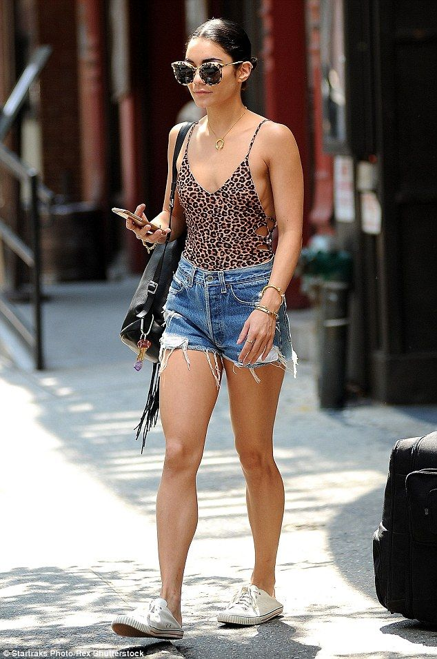 Cat's meow: Vanessa Hudgens looked pretty wild as she stepped out in hot and humid NYC wea...