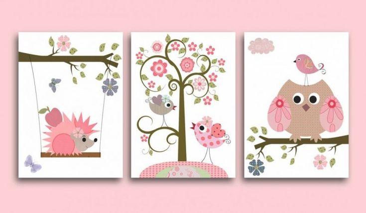 Kids Bedroom:Kids Owl Bedroom Decor Canvas Owls Art For Children Kids Wall Art Baby Girl Room Intended For Kids Owl Bedroom Decor